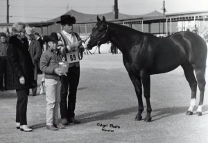Caption: Jerry Wells sported a front facing number when showing Otoe. EC archival photo.