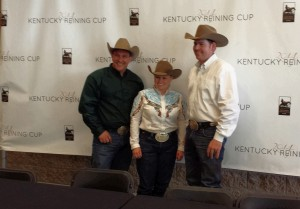 2014 Kentucky Reining Cup medalists: Shawn Flarida (gold), Mandy McCutcheon (silver), and Jordan Larson (bronze).
