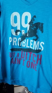 Fun shirts with eventing sayings cane be found everywhere in the trade show.