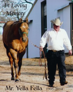 Gary Gordon and Mr. Yella Fella. Photo provided by Fossil Gate Farms.