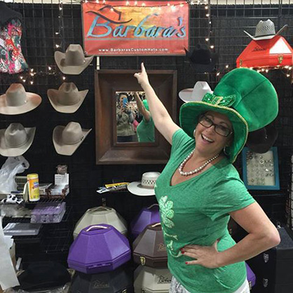 Barbara's Custom Hats gets in the spirit for St. Patrick's Day! Photo courtesy of Silver Dollar Circuit.