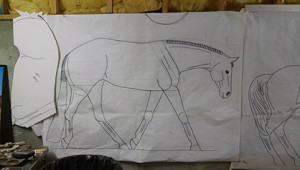 Blueprints for Henry's next creation, the Hunter Under Saddle horse.