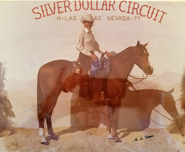 Cal Cooper on Chicaro Parker High Point Junior Horse at the 1977 Silver Dollar Circuit.