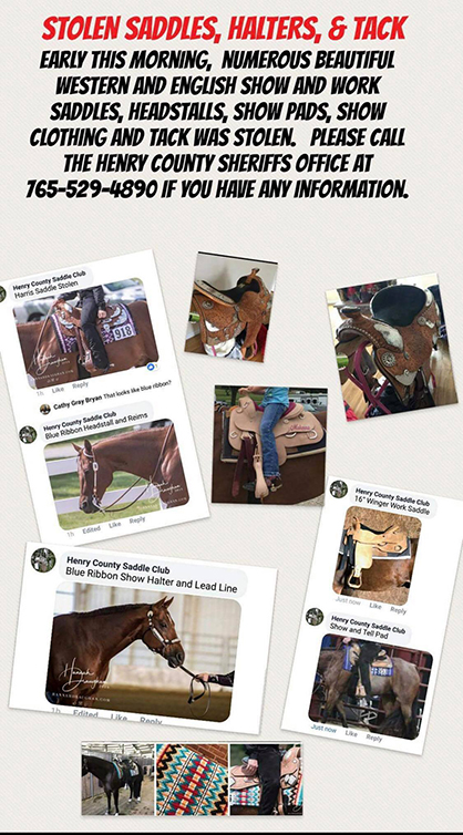 """Authorities Believe More Than $150,000 in Tack Stolen From IN Horse Show Was Result of """"Targeted Attack"""""""