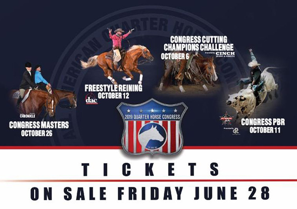 Special Event Tickets For 2019 Quarter Horse Congress Go On Sale Tomorrow!