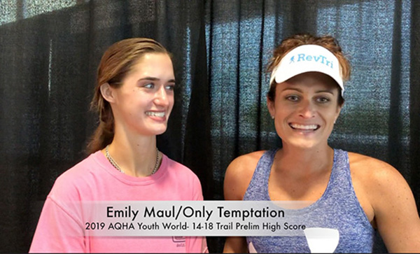 Emily Maul/Only Temptation Claim Highest Score in 14-18 Trail Prelims at AQHA Youth World