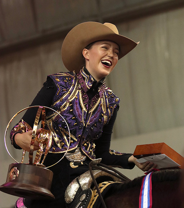Caroline Nielson and Theonlykisstoenvy Win AQHA Youth World 14-18 Western Riding