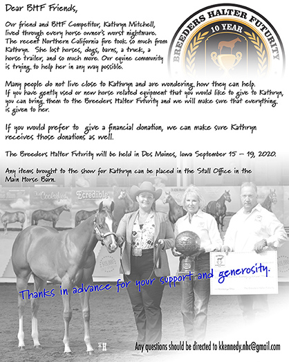 Breeders Halter Futurity Collecting Donations For Kathryn Mitchell Following Fire