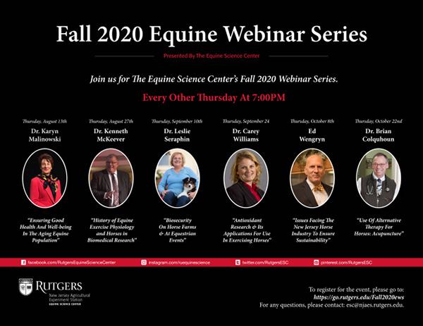 Equine Science Center Fall 2020 Webinar Series