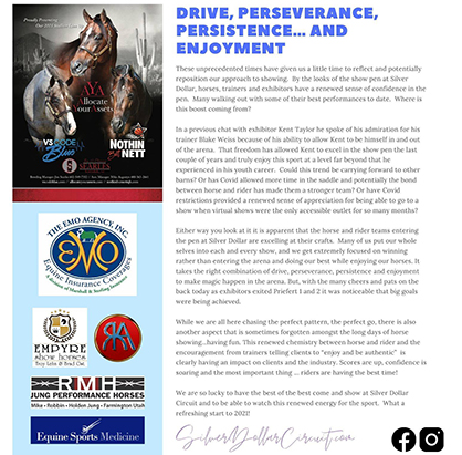 Drive, Perseverance, Persistence, and Enjoyment- Silver Dollar Circuit- Daily Stride #2