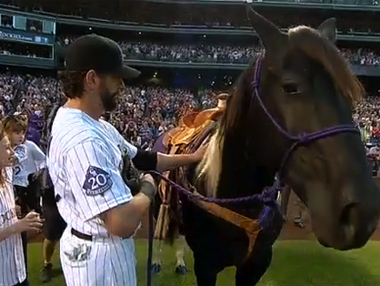 Colorado Rockies Present First Baseman With Ultimate Retirement Gift, An American Paint Horse