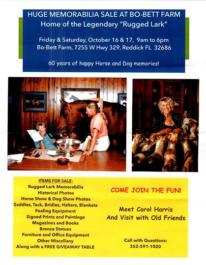 Memorabilia Sale at Bo-Bett Farm This October