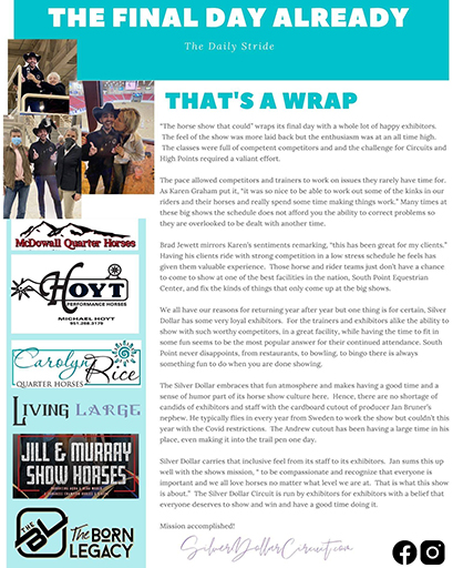 That's A Wrap- Silver Dollar Daily Stride #6